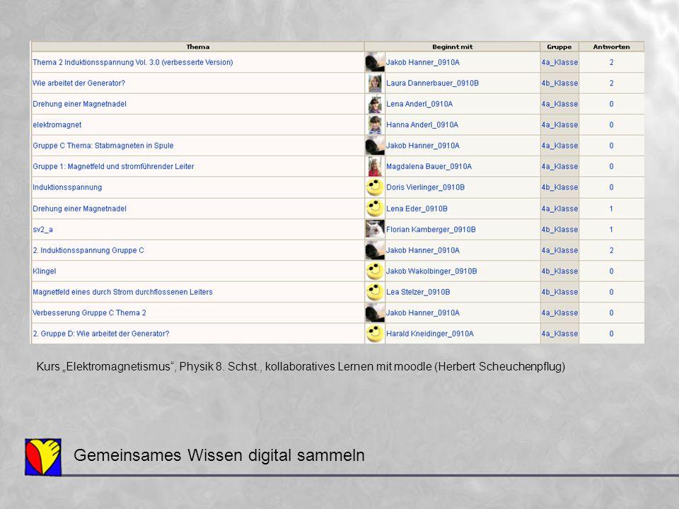 """Gemeinsames Wissen digital sammeln Kurs """"Elektromagnetismus"""", Physik 8. Schst., kollaboratives Lernen mit moodle (Herbert Scheuchenpflug)"""