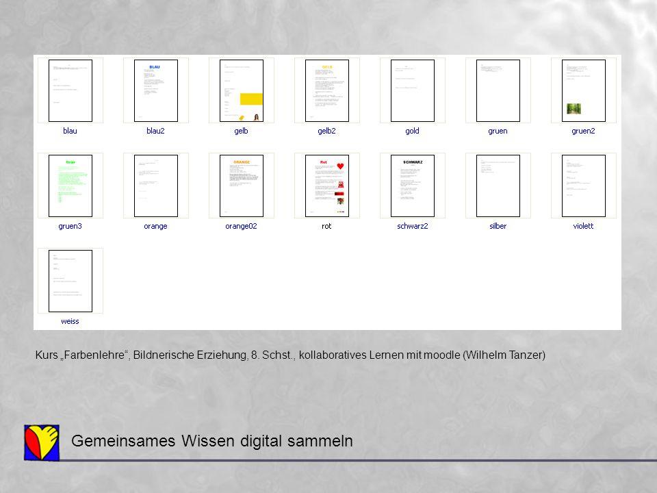 """Gemeinsames Wissen digital sammeln Kurs """"Farbenlehre"""", Bildnerische Erziehung, 8. Schst., kollaboratives Lernen mit moodle (Wilhelm Tanzer)"""