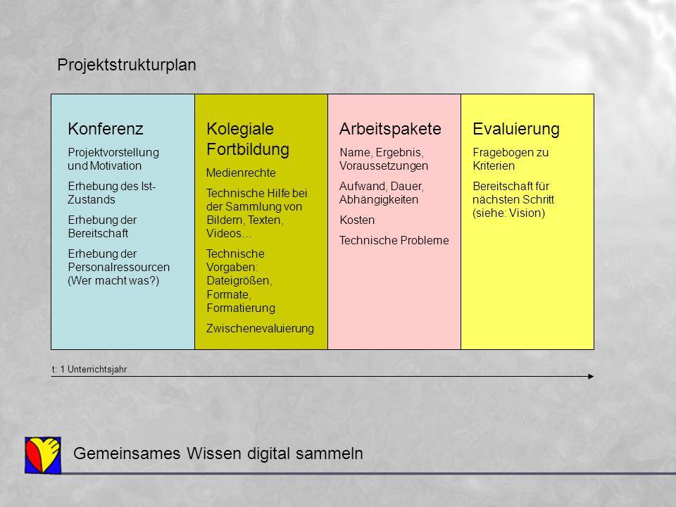 Gemeinsames Wissen digital sammeln Projektstrukturplan Konferenz Projektvorstellung und Motivation Erhebung des Ist- Zustands Erhebung der Bereitschaf