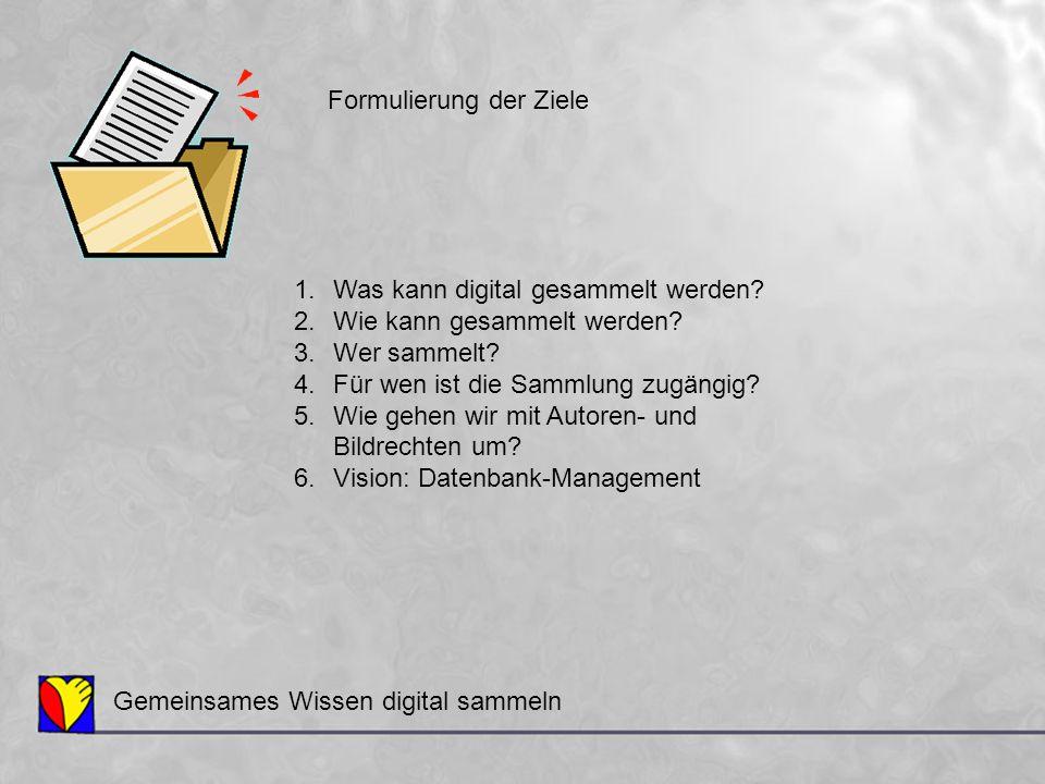 1.Was kann digital gesammelt werden? 2.Wie kann gesammelt werden? 3.Wer sammelt? 4.Für wen ist die Sammlung zugängig? 5.Wie gehen wir mit Autoren- und