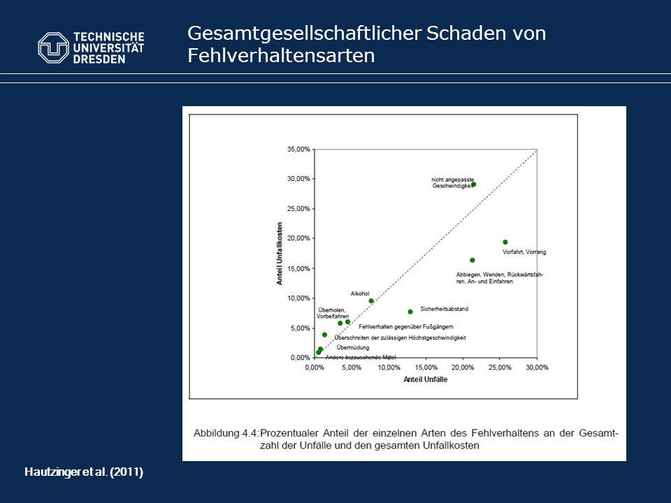 Gesamtgesellschaftlicher Schaden von Fehlverhaltensarten Hautzinger et al. (2011)