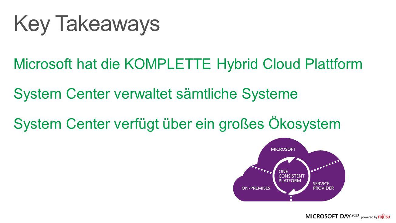Microsoft hat die KOMPLETTE Hybrid Cloud Plattform System Center verwaltet sämtliche Systeme System Center verfügt über ein großes Ökosystem
