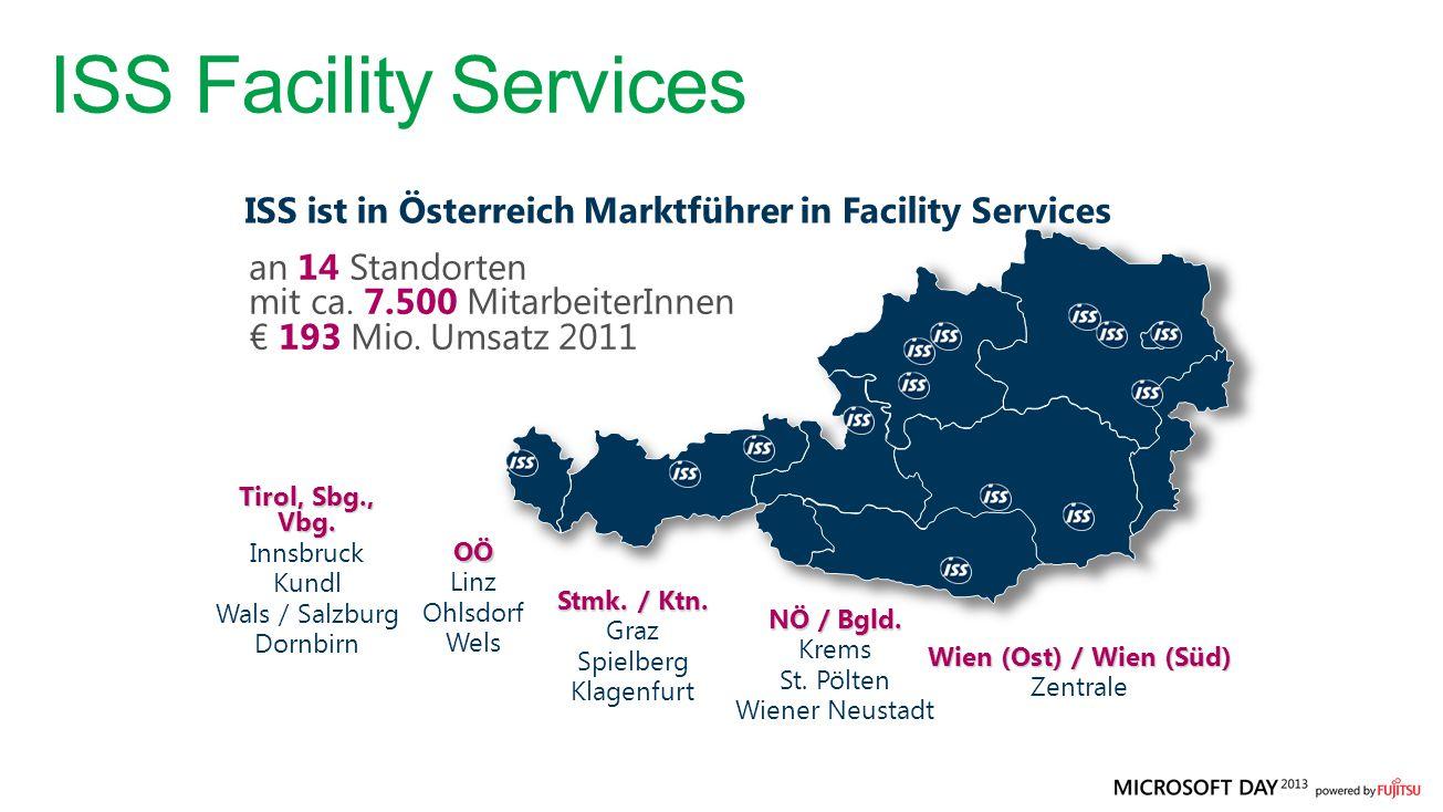 ISS ist in Österreich Marktführer in Facility Services Wien (Ost) / Wien (Süd) Zentrale NÖ / Bgld. Krems St. Pölten Wiener Neustadt Tirol, Sbg., Vbg.
