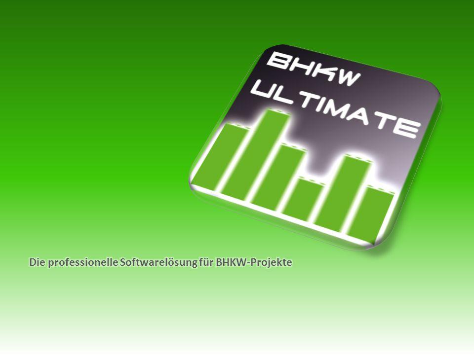 """BHKW-Ultimate Programmoberfläche - """"Meine BHKW Erstellen eines eigenen BHKW-Portfolios Aufschlüsselung der Anschaffungskosten detaillierte Wartungs- und Kostenpläne"""