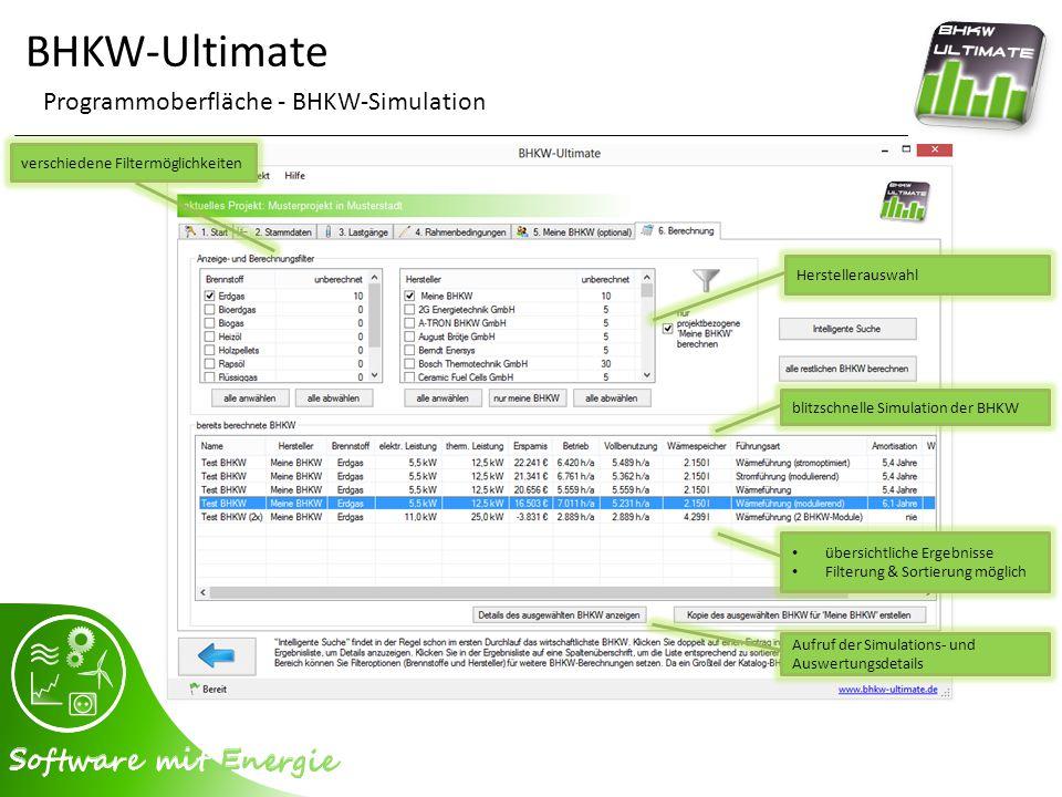 BHKW-Ultimate Programmoberfläche - BHKW-Simulation verschiedene Filtermöglichkeiten Herstellerauswahl blitzschnelle Simulation der BHKW übersichtliche