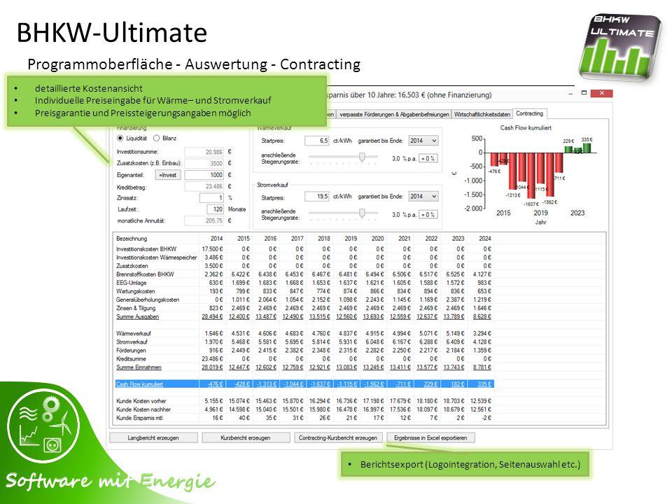 BHKW-Ultimate Programmoberfläche - Auswertung - Contracting Berichtsexport (Logointegration, Seitenauswahl etc.) detaillierte Kostenansicht Individuel
