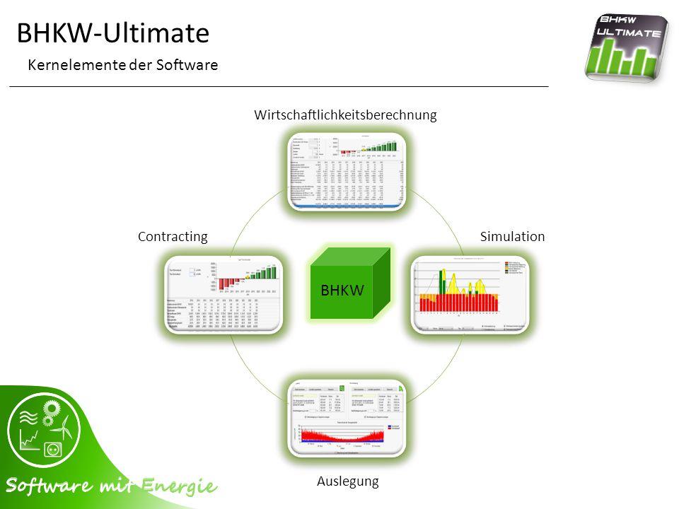 BHKW-Ultimate Programmoberfläche - BHKW-Simulation verschiedene Filtermöglichkeiten Herstellerauswahl blitzschnelle Simulation der BHKW übersichtliche Ergebnisse Filterung & Sortierung möglich Aufruf der Simulations- und Auswertungsdetails