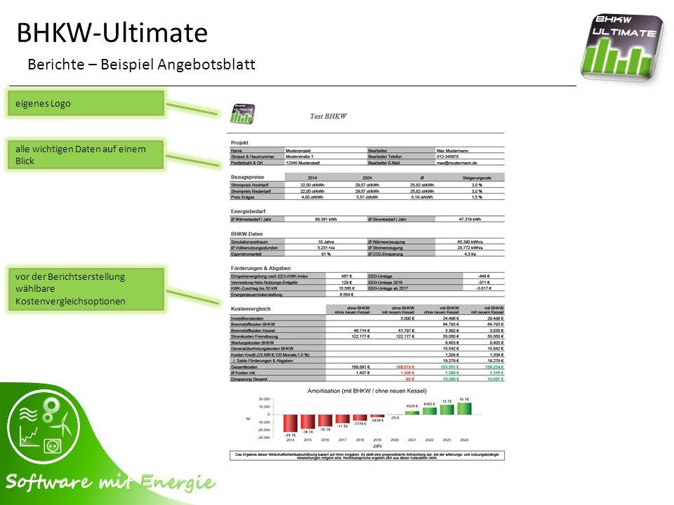 BHKW-Ultimate Berichte – Beispiel Angebotsblatt eigenes Logo alle wichtigen Daten auf einem Blick vor der Berichtserstellung wählbare Kostenvergleichs