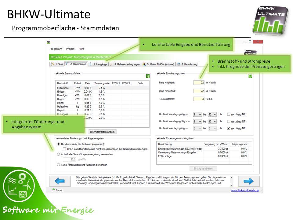 BHKW-Ultimate Programmoberfläche - Auswertung - Wirtschaftlichkeitsdaten Berichtsexport (Logointegration, Seitenauswahl etc.) detaillierte Kostenansicht integrierter Finanzierungsrechner