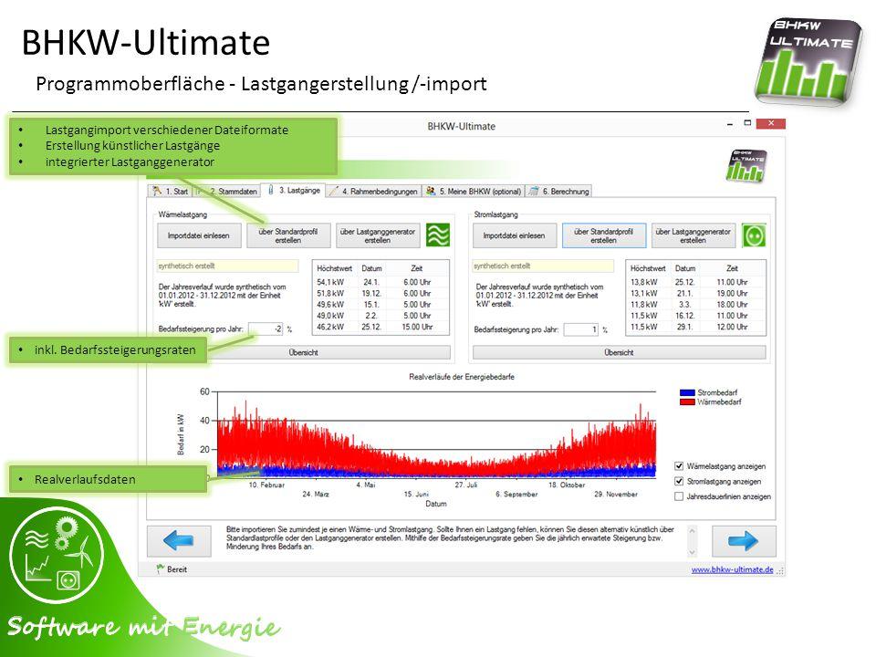 BHKW-Ultimate Programmoberfläche - Lastganggenerator gesetzliche Feiertage integriert frei definierbare Feiertage frei definierbare Betriebsferien Glättungsoption Streuungsoption Lastprofilvorschau Wärmelastgang Stromlastgang