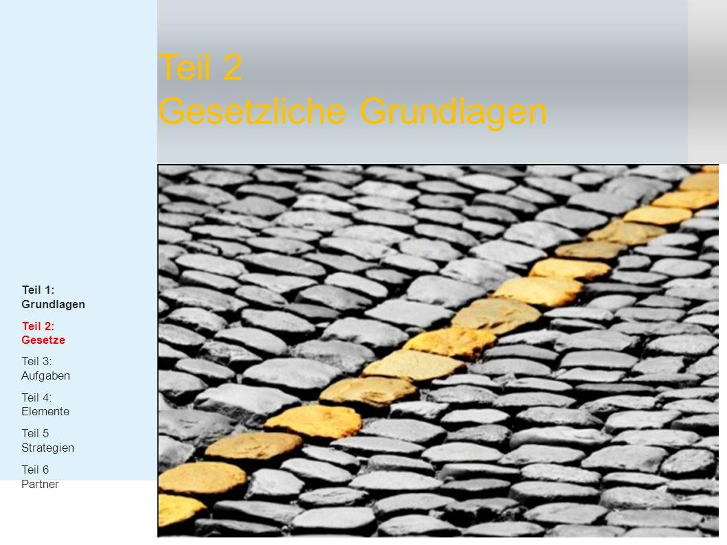 Teil 2 Gesetzliche Grundlagen Teil 1: Grundlagen Teil 2: Gesetze Teil 3: Aufgaben Teil 4: Elemente Teil 5 Strategien Teil 6 Partner