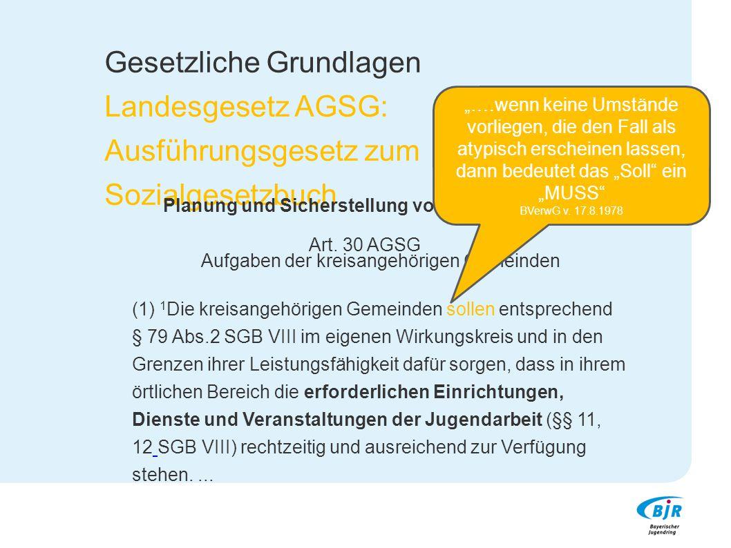 Gesetzliche Grundlagen Landesgesetz AGSG: Ausführungsgesetz zum Sozialgesetzbuch Planung und Sicherstellung von Jugendarbeit Art. 30 AGSG Aufgaben der