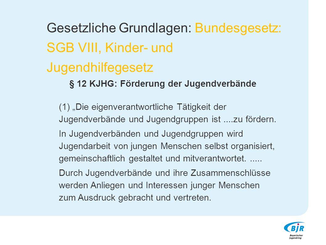 """Gesetzliche Grundlagen: Bundesgesetz: SGB VIII, Kinder- und Jugendhilfegesetz § 12 KJHG: Förderung der Jugendverbände (1) """"Die eigenverantwortliche Tä"""