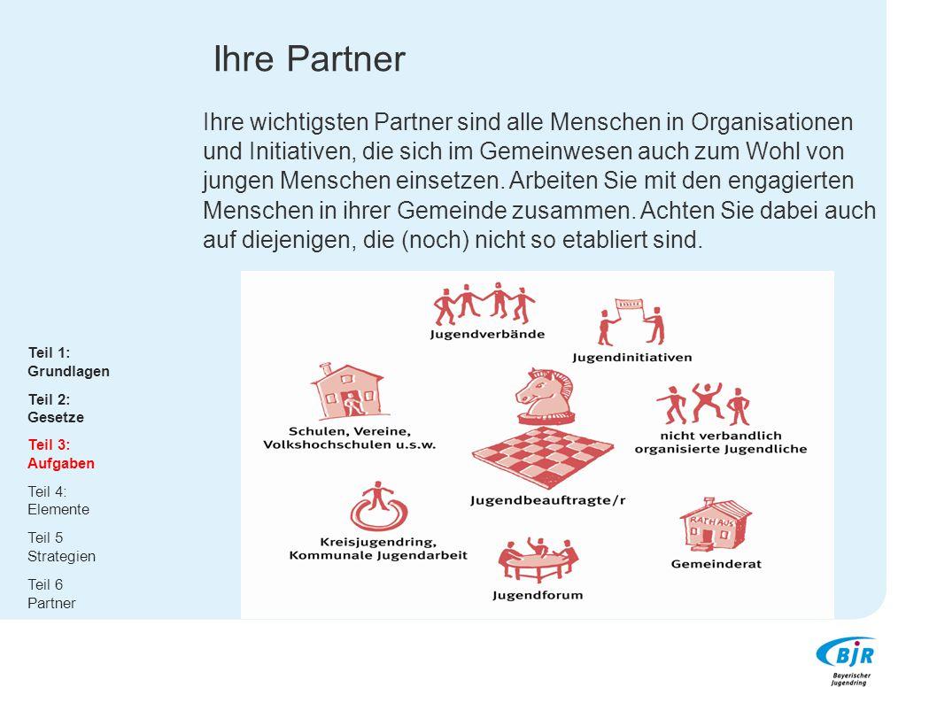 Ihre Partner Ihre wichtigsten Partner sind alle Menschen in Organisationen und Initiativen, die sich im Gemeinwesen auch zum Wohl von jungen Menschen