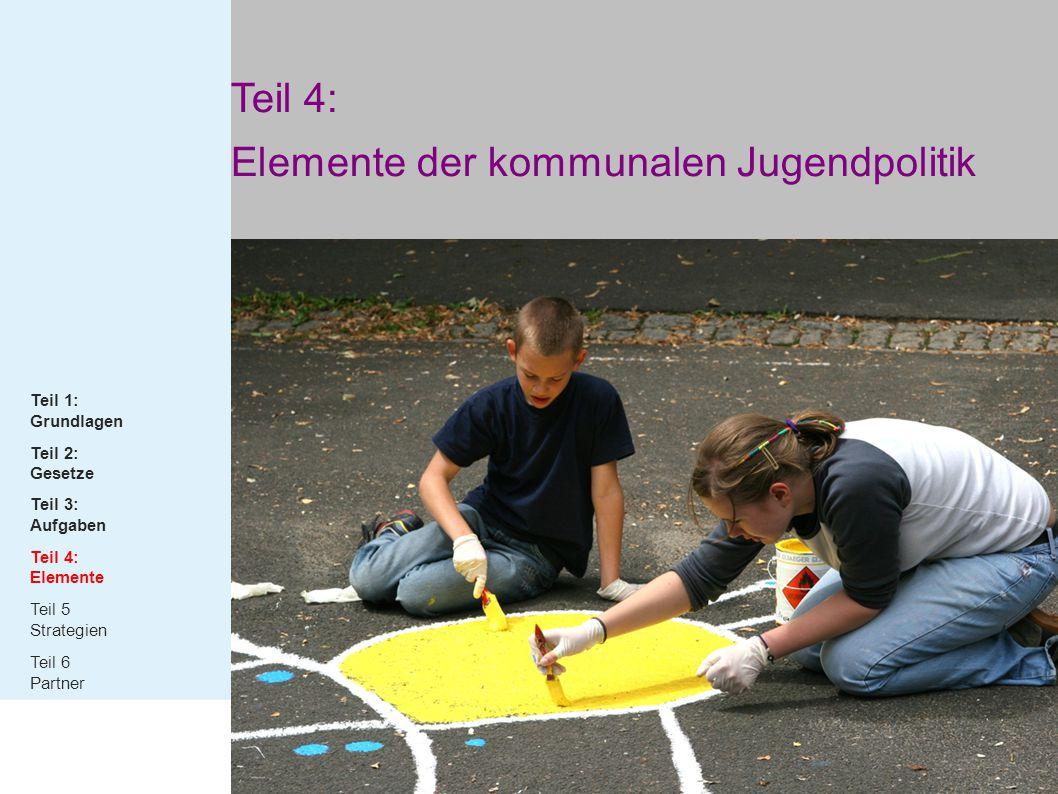 Teil 4: Elemente der kommunalen Jugendpolitik Teil 1: Grundlagen Teil 2: Gesetze Teil 3: Aufgaben Teil 4: Elemente Teil 5 Strategien Teil 6 Partner