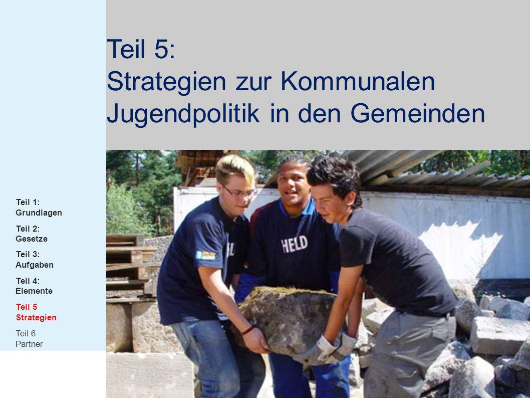 Teil 5: Strategien zur Kommunalen Jugendpolitik in den Gemeinden Teil 1: Grundlagen Teil 2: Gesetze Teil 3: Aufgaben Teil 4: Elemente Teil 5 Strategie