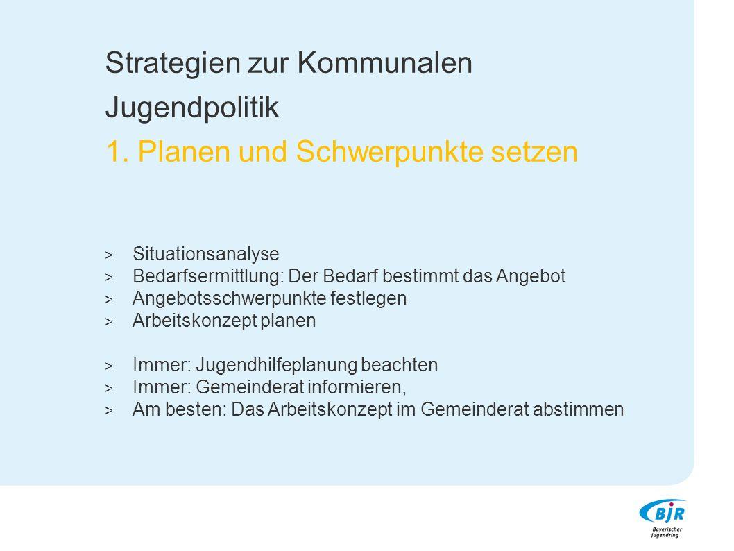 Strategien zur Kommunalen Jugendpolitik 1. Planen und Schwerpunkte setzen  Situationsanalyse  Bedarfsermittlung: Der Bedarf bestimmt das Angebot  A