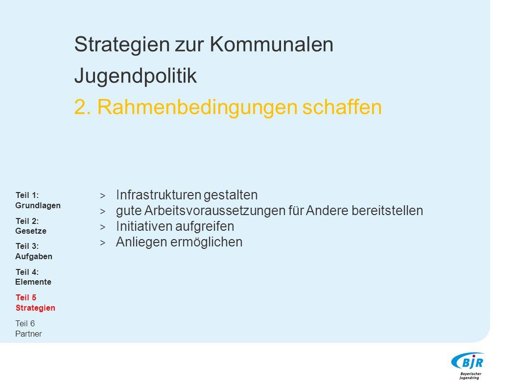 Strategien zur Kommunalen Jugendpolitik 2. Rahmenbedingungen schaffen  Infrastrukturen gestalten  gute Arbeitsvoraussetzungen für Andere bereitstell