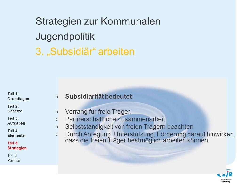"""Strategien zur Kommunalen Jugendpolitik 3. """"Subsidiär"""" arbeiten  Subsidiarität bedeutet:  Vorrang für freie Träger,  Partnerschaftliche Zusammenarb"""