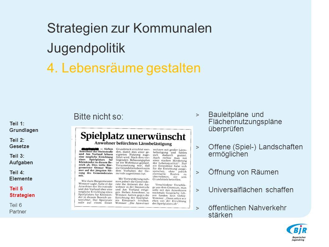 Strategien zur Kommunalen Jugendpolitik 4. Lebensräume gestalten Bitte nicht so:  Bauleitpläne und Flächennutzungspläne überprüfen  Offene (Spiel-)