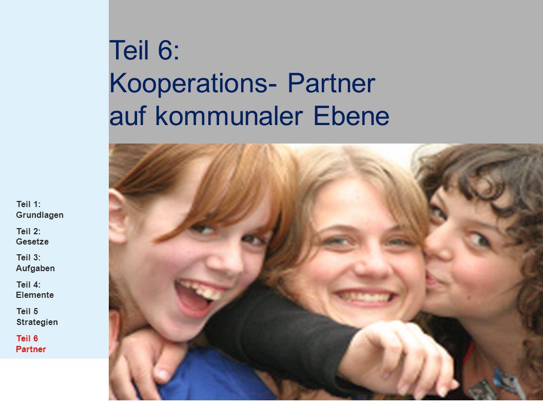 Teil 6: Kooperations- Partner auf kommunaler Ebene Teil 1: Grundlagen Teil 2: Gesetze Teil 3: Aufgaben Teil 4: Elemente Teil 5 Strategien Teil 6 Partn