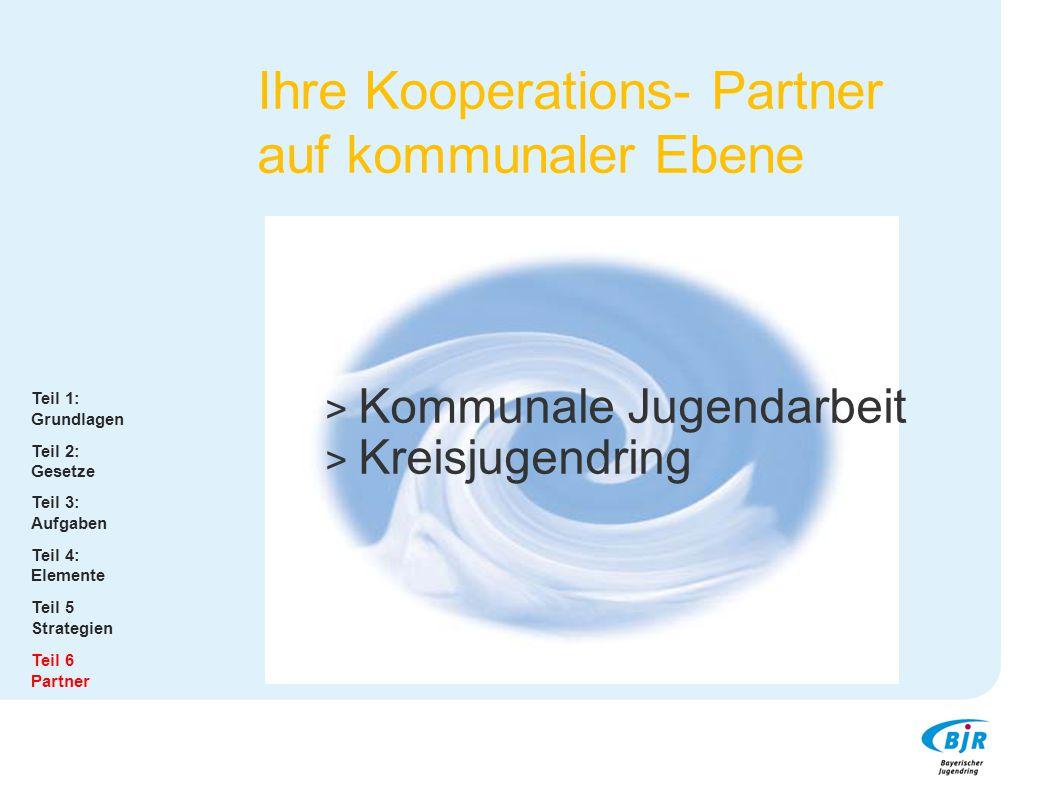 Ihre Kooperations- Partner auf kommunaler Ebene Teil 1: Grundlagen Teil 2: Gesetze Teil 3: Aufgaben Teil 4: Elemente Teil 5 Strategien Teil 6 Partner