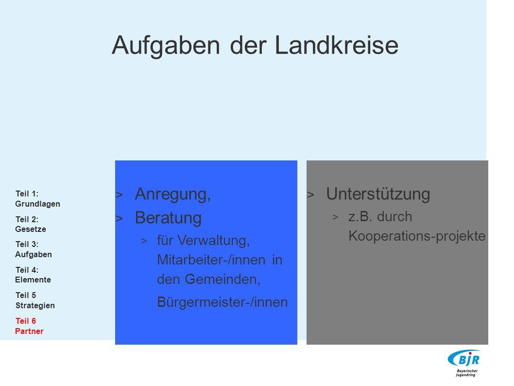 Anregung,  Beratung  für Verwaltung, Mitarbeiter-/innen in den Gemeinden, Bürgermeister-/innen  Unterstützung  z.B. durch Kooperations-projekte