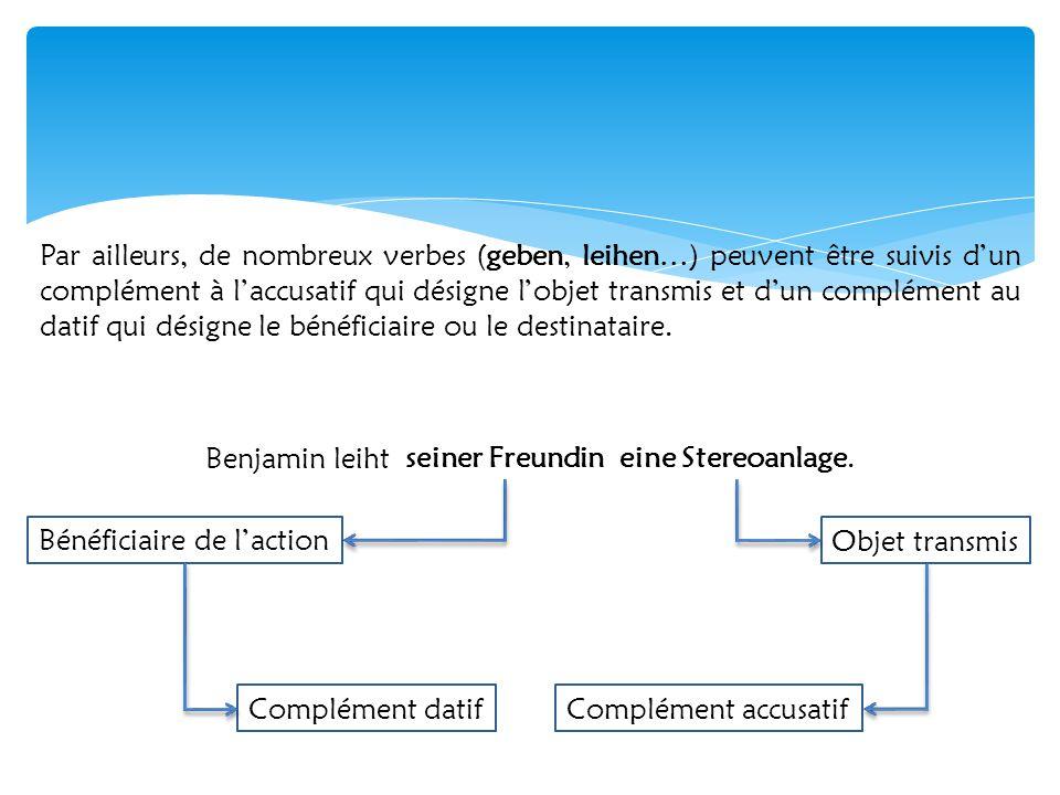 Par ailleurs, de nombreux verbes (geben, leihen…) peuvent être suivis d'un complément à l'accusatif qui désigne l'objet transmis et d'un complément au