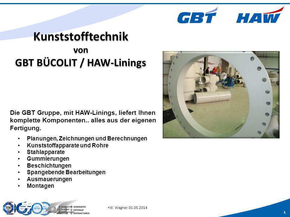 1 W. Wagner 01.05.2014 Kunststofftechnik von GBT BÜCOLIT / HAW-Linings Planungen, Zeichnungen und Berechnungen Kunststoffapparate und Rohre Stahlappar