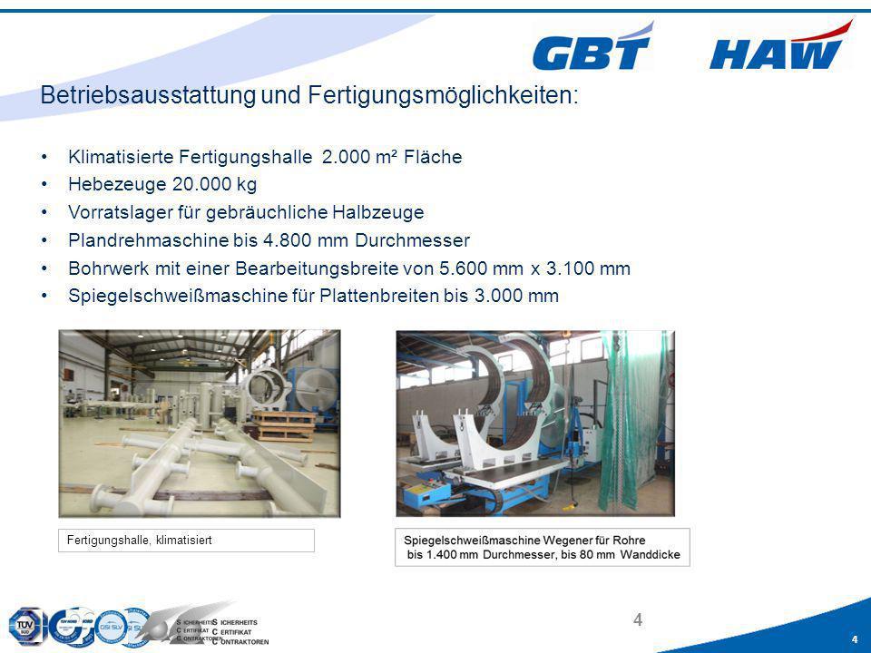 4 4 Klimatisierte Fertigungshalle 2.000 m² Fläche Hebezeuge 20.000 kg Vorratslager für gebräuchliche Halbzeuge Plandrehmaschine bis 4.800 mm Durchmess