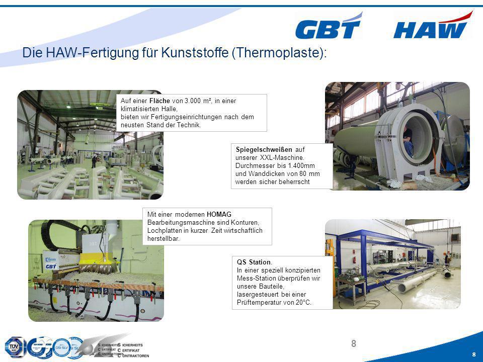 8 8 Die HAW-Fertigung für Kunststoffe (Thermoplaste): Auf einer Fläche von 3.000 m², in einer klimatisierten Halle, bieten wir Fertigungseinrichtungen