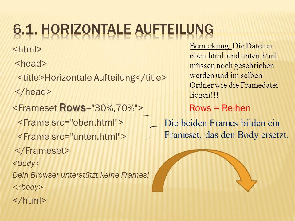Horizontale Aufteilung Rows Rows = Reihen Dein Browser unterstützt keine Frames! Die beiden Frames bilden ein Frameset, das den Body ersetzt. Bemerkun