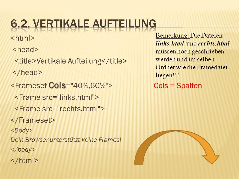 Vertikale Aufteilung Cols Cols = Spalten Dein Browser unterstützt keine Frames! Bemerkung: Die Dateien links.html und rechts.html müssen noch geschrie