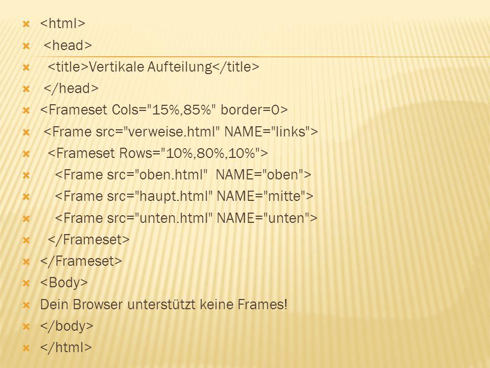   Vertikale Aufteilung   Dein Browser unterstützt keine Frames! 