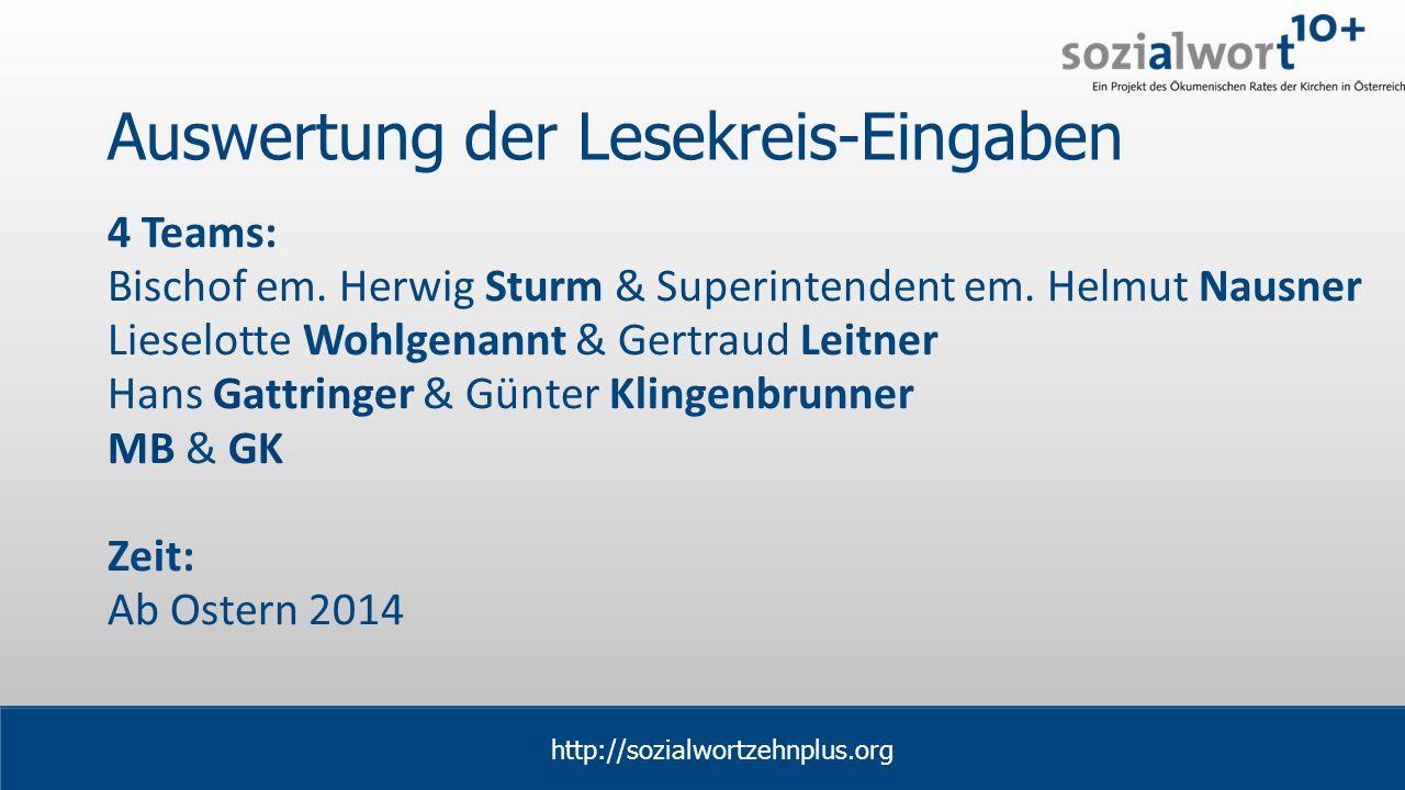 www.sozialwort.at Auswertung der Lesekreis-Eingaben 4 Teams: Bischof em.