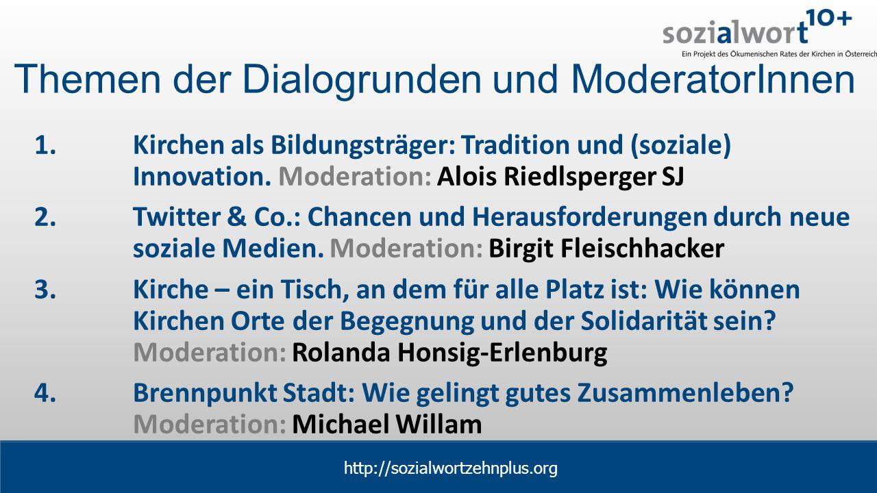 www.sozialwort.at Themen der Dialogrunden und ModeratorInnen 1.Kirchen als Bildungsträger: Tradition und (soziale) Innovation.