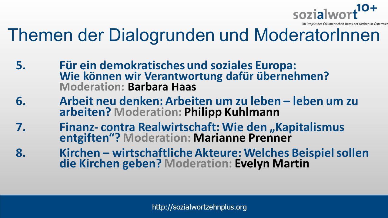 www.sozialwort.at Themen der Dialogrunden und ModeratorInnen 5.Für ein demokratisches und soziales Europa: Wie können wir Verantwortung dafür übernehmen.
