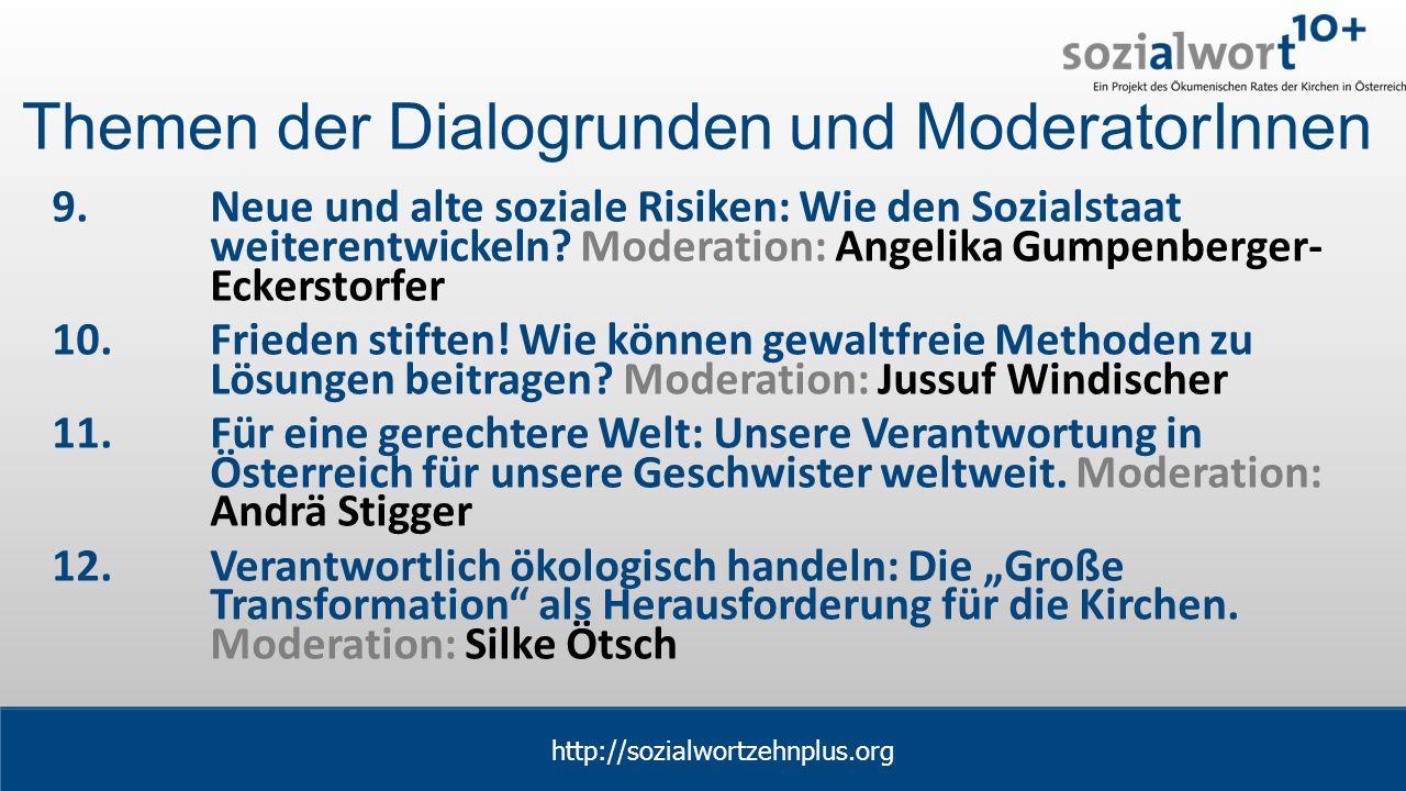 www.sozialwort.at Themen der Dialogrunden und ModeratorInnen 9.Neue und alte soziale Risiken: Wie den Sozialstaat weiterentwickeln.