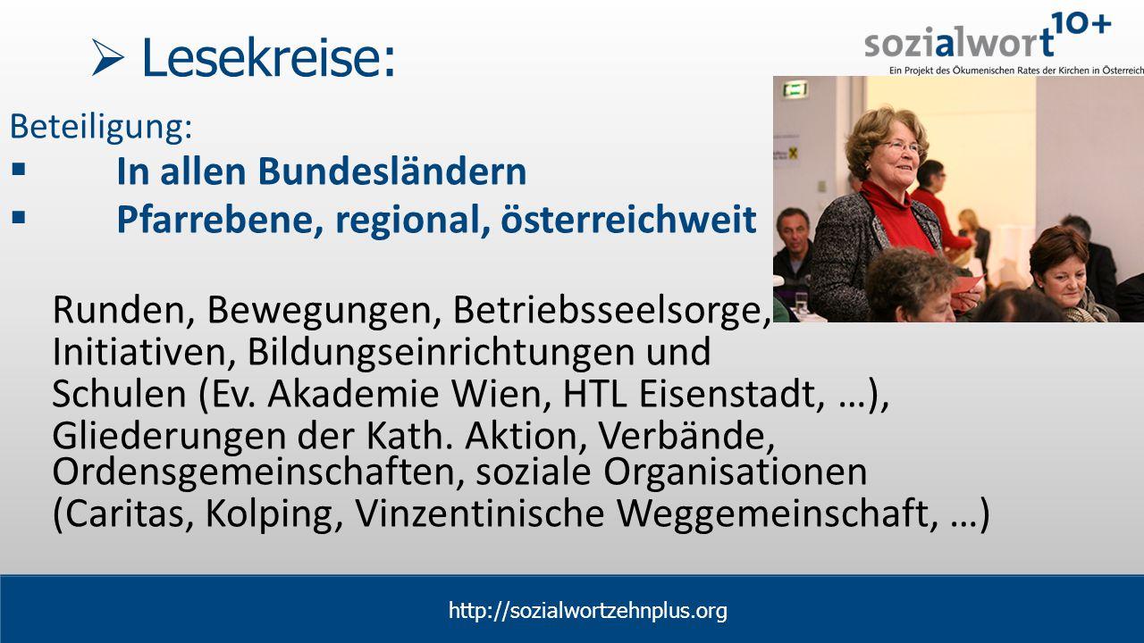 www.sozialwort.at  Lesekreise: Beteiligung:  In allen Bundesländern  Pfarrebene, regional, österreichweit Runden, Bewegungen, Betriebsseelsorge, Initiativen, Bildungseinrichtungen und Schulen (Ev.