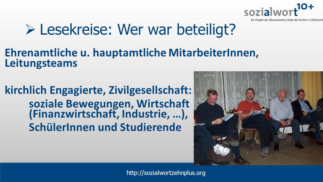 www.sozialwort.at  Lesekreise: Wer war beteiligt.