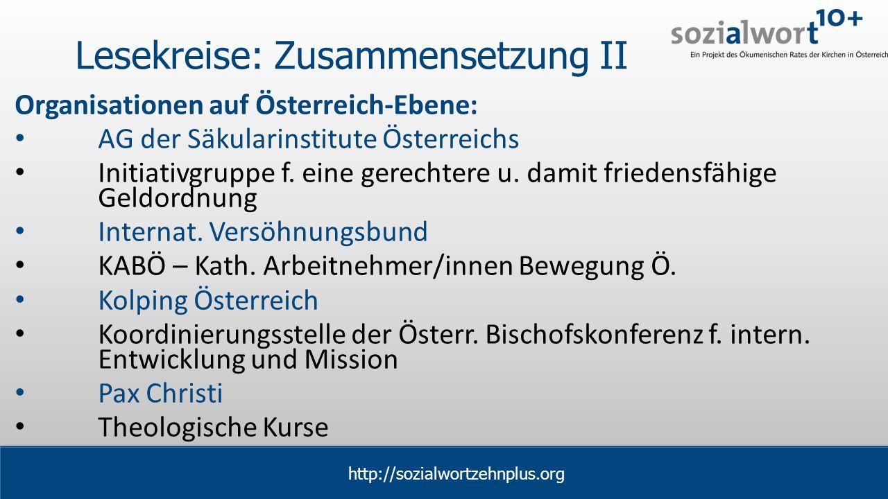 www.sozialwort.at Lesekreise: Zusammensetzung II Organisationen auf Österreich-Ebene: AG der Säkularinstitute Österreichs Initiativgruppe f.