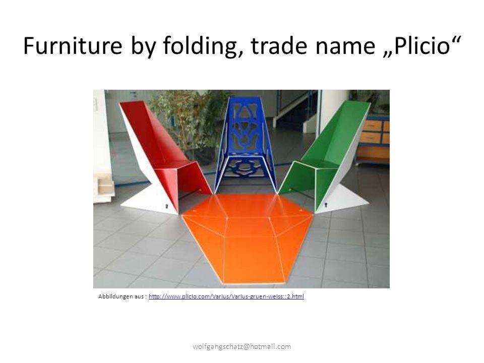 """Furniture by folding, trade name """"Plicio"""" Abbildungen aus : http://www.plicio.com/Varius/Varius-gruen-weiss::2.htmlhttp://www.plicio.com/Varius/Varius"""