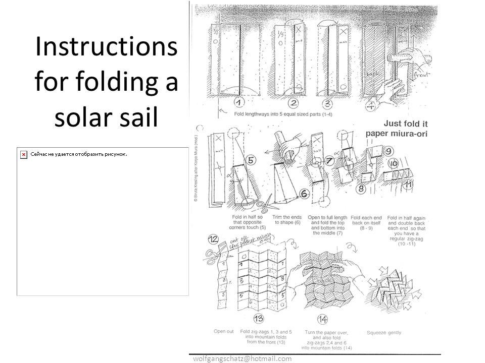 Instructions for folding a solar sail wolfgangschatz@hotmail.com