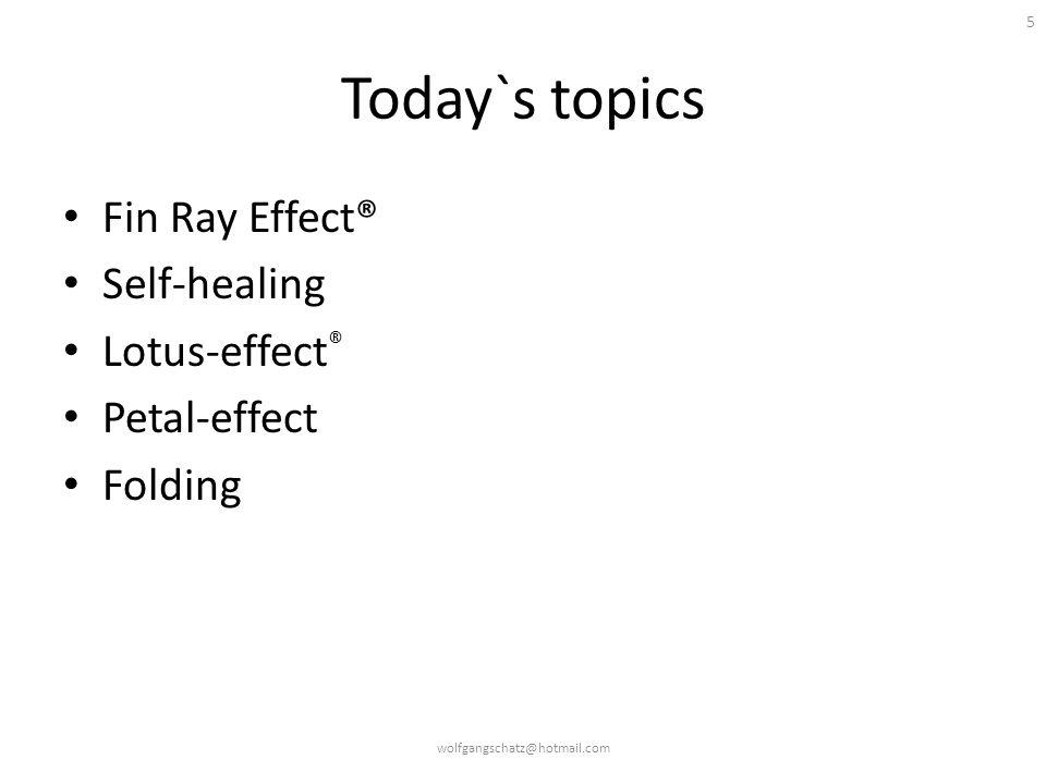 5 Today`s topics Fin Ray Effect® Self-healing Lotus-effect ® Petal-effect Folding wolfgangschatz@hotmail.com
