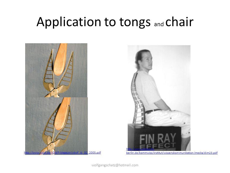 Application to tongs and chair http://www.vdwf.de/VDWF-Magazin/vdwf_id_02_2005.pdf http://www.polsoz.fu- berlin.de/kommwiss/institut/wissenskommunikat