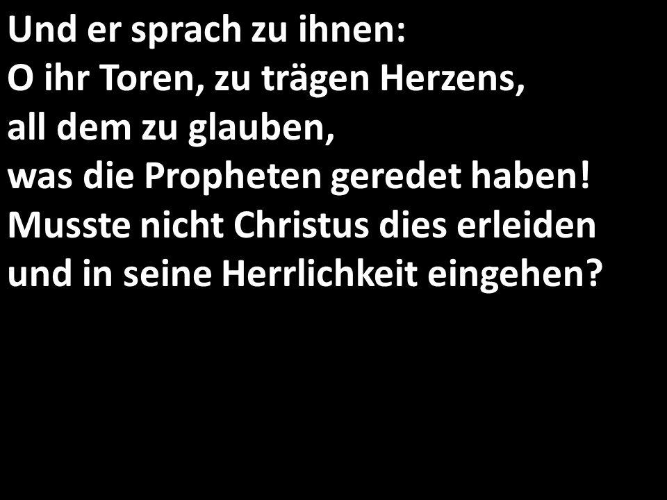 Und er sprach zu ihnen: O ihr Toren, zu trägen Herzens, all dem zu glauben, was die Propheten geredet haben! Musste nicht Christus dies erleiden und i