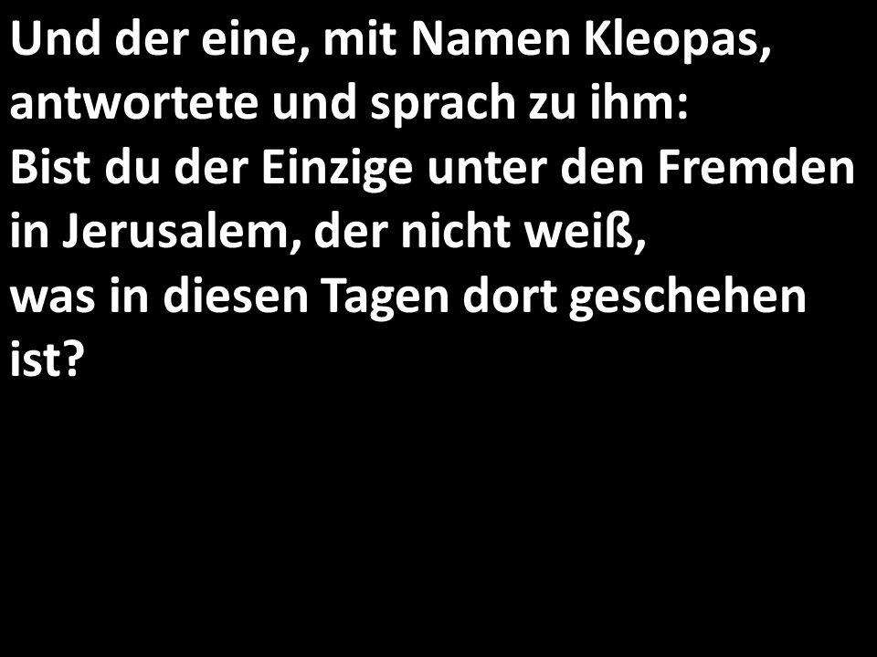 Und der eine, mit Namen Kleopas, antwortete und sprach zu ihm: Bist du der Einzige unter den Fremden in Jerusalem, der nicht weiß, was in diesen Tagen