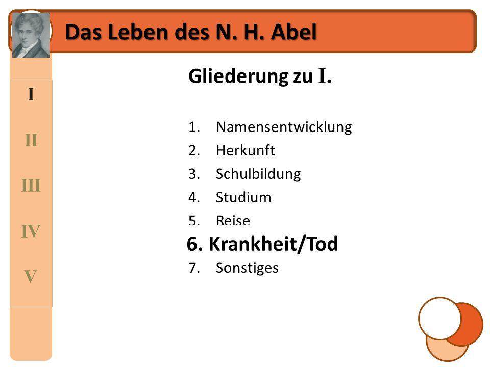 I II III IV V Das Leben des N. H. Abel