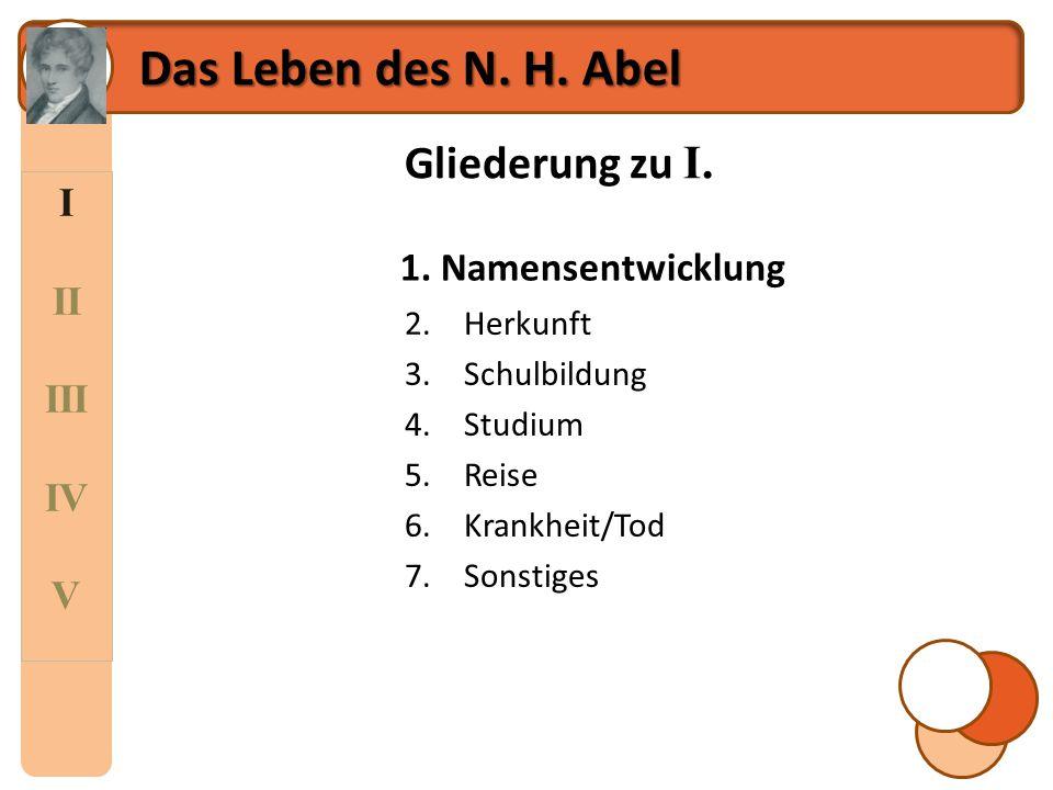 I II III IV V Das Leben des N. H. Abel Gliederung zu I. 1.Namensentwicklung 2.Herkunft 3.Schulbildung 4.Studium 5.Reise 6.Krankheit/Tod 7.Sonstiges 1.