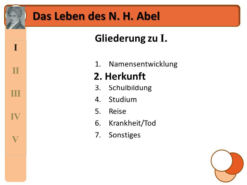 I II III IV V Das Leben des N. H. Abel [2]